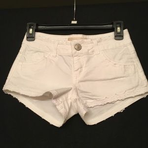 Rewind White shorts with lace, size 0, brand new.